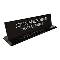 """This custom notary desk sign is 2"""" x 8"""" with two customizable lines of text. Available in 5 sign and 2 base colors. Orders over $25 ship free!"""