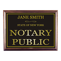 """This custom notary sign is 6"""" x 8"""" and features customizable name and state. Available in 5 sign and 2 base colors. Orders over $25 ship free!"""