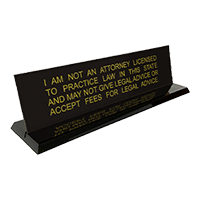 """This stock notary desk sign is 2"""" x 8"""" with a Not A Lawyer disclaimer engraving. Available in 5 sign and 2 base colors. Orders over $25 ship free!"""