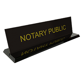 "This stock notary desk sign is 2"" x 8"" with the text Notary Public. Available in 5 sign and 2 base colors. Orders over $25 ship free!"
