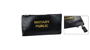 """This vinyl Notary Zipper Bag is 6"""" x 12"""" in size and is great for holding notary supplies. Includes lockable zippered pulls, lock sold separately."""