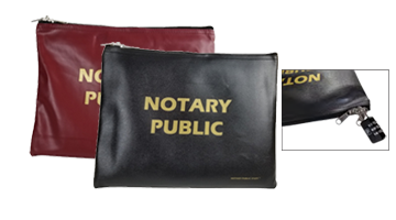 """This navy blue leatherette Notary Zipper Bag is 9"""" x 12"""" in size and is great for holding notary supplies. Orders over $25 ship free!"""