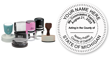 This notary public stamp for the state of Michigan adheres to state regulations and provides top quality impressions. Orders over $25 ship free!