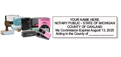 Michigan notary stamps ship in 1-2 days, meet all state specifications, are fully customizable and available on 6 mounts. Free shipping on orders over $25!