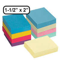 "This 1-1/2"" x 2"" adhesive note 12 pack comes in 3 different color bundles, including yellow, pastel, and bright! Free shipping on orders over $45!"