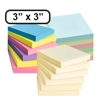 "This 3"" x 3"" adhesive note 12/24 pack comes in 3 different color bundles, including yellow, pastel, and bright! Free shipping on orders over $45!"