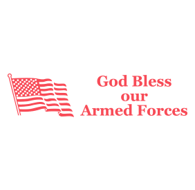 "This self-inking stamp says God Bless Our Armed Forces with an impression size of 7/8"" x 2-3/8"". Available in 11 stunning ink colors. Orders over $25 ship free!"