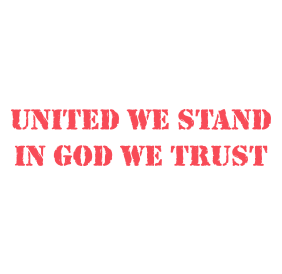 "Use this UNITED WE STAND IN GOD WE TRUST self-inking stamp on your letters and cards in 11 ink colors. Impression is 7/8"" x 2-3/8"". Orders over $15 ship free!"