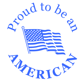 "This 1-5/8"" diameter self-inking round stamp reads Proud to be an AMERICAN with a flag design and comes in a choice of 11 ink colors. Orders over $25 ship free!"