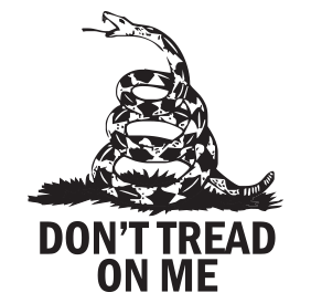 "This DON'T TREAD ON ME self-inking round stamp with rattlesnake design is 1-5/8"" diameter and features 11 vibrant ink color choices. Orders over $25 ship free!"