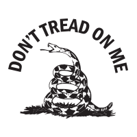 "This self-inking round stamp reads DON'T TREAD ON ME in a half-circle w/ a size of 1-5/8"" diameter & 11 vibrant ink color choices. Orders over $45 ship free!"