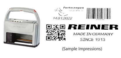 The jetStamp 1025 electronic stamp prints graphics, barcodes & alphanumeric text. This is the largest jetStamp on the market with a print area up to 1″ x 3 1/2″.