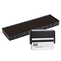 This Cosco replacement pad comes in your choice of 11 ink colors! Fits the Cosco model 25 self-inking stamp. Orders over $45 ship free!