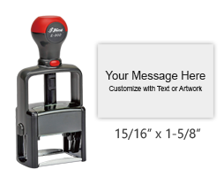 "Customize this 15/16"" x 1-5/8"" stamp with up to 5 lines of text or b&w artwork in 11 ink colors! Great for high volume stamping. Ships free in 1-2 business days!"