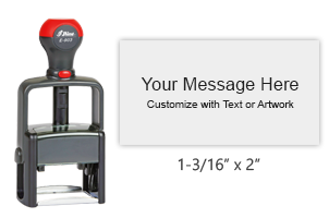 "Customize this 1-3/16"" x 2"" stamp with up to 7 lines of text or b&w artwork in 11 ink colors! Great for high volume stamping. Ships free in 1-2 business days!"