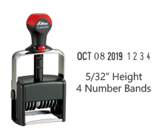 "Stock 5/32"" charcater height date stamp with 4 manual number bands available in 11 ink colors! Great for high volume stamping. Ships in 1-2 business days!"