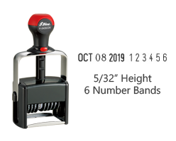 "Stock 5/32"" charcater height date stamp with 6 manual number bands available in 11 ink colors! Great for high volume stamping. Ships in 1-2 business days!"