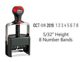 "Stock 5/32"" charcater height date stamp with 8 manual number bands available in 11 ink colors! Great for high volume stamping. Ships free in 1-2 business days!"