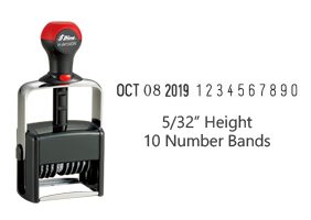 "Stock 5/32"" charcater height date stamp with 10 manual number bands available in 11 ink colors! Great for high volume stamping. Ships in 1-2 business days!"