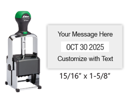 "Customize this 15/16"" x 1-5/8"" date stamp free with 2 lines of text above and below the date. Available in 11 ink colors. Ships free in 1-2 business days!"