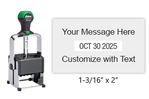 "Customize this 1-3/16"" x 2"" date stamp free with 2 lines of text above and below the date. Available in 11 ink colors. Ships free in 1-2 business days!"
