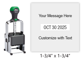 "Customize this 1-3/4"" square date stamp free with 3 lines of text above and below the date. Available in 11 ink colors. Ships free in 1-2 business days!"
