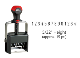 "Stock heavy duty 5/32"" height numbering stamp with 14 manual bands available in 11 ink colors! Great for high volume stamping. Ships free in 1-2 business days!"