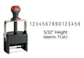 "Stock heavy duty 5/32"" height numbering stamp with 16 manual bands available in 11 ink colors! Great for high volume stamping. Ships free in 1-2 business days!"