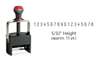 "Stock heavy duty 5/32"" height numbering stamp with 18 manual bands available in 11 ink colors! Great for high volume stamping. Ships free in 1-2 business days!"