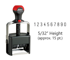 "Stock heavy duty 5/32"" height numbering stamp with 10 manual bands available in 11 ink colors! Great for high volume stamping. Ships free in 1-2 business days!"