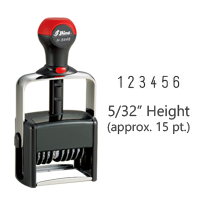 "Stock heavy duty 5/32"" height numbering stamp with 6 manual bands available in 11 ink colors! Great for high volume stamping. Ships free in 1-2 business days!"