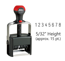 "Stock heavy duty 5/32"" height numbering stamp with 8 manual bands available in 11 ink colors! Great for high volume stamping. Ships free in 1-2 business days!"