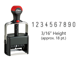 "Heavy duty 3/16"" height stock numbering stamp with 10 manual bands available in 11 ink colors! Great for high volume stamping. Ships free in 1-2 business days!"