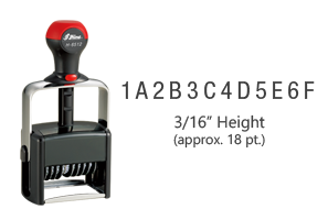 """This custom assembly 12 band, 3/16"""", numbering stamp has a choice of 0-9, A-M, or N-Z on each band and has 11 ink color choices! Ships free in 1-2 business days!"""