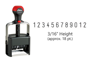 "Heavy duty 3/16"" height stock numbering stamp with 12 manual bands available in 11 ink colors! Great for high volume stamping. Ships free in 1-2 business days!"