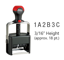 """This custom assembly 6 band, 3/16"""", numbering stamp has a choice of 0-9, A-M, or N-Z on each band and has 11 ink color choices! Ships free in 1-2 business days!"""