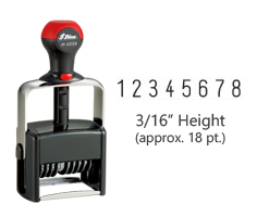 "Heavy duty 3/16"" height stock numbering stamp with 8 manual bands available in 11 ink colors! Great for high volume stamping. Ships free in 1-2 business days!"