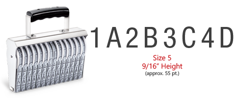 "Custom assembly 8 band, 9/16"", stamp has a choice of 0-9, A-M, or N-Z on each band and requires the use of a separate ink pad! Ships free in 1-2 business days!"