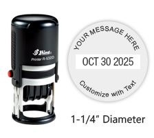 "Personalize this 1-1/4"" round date stamp free with up to 4 lines of text in your choice of 11 ink colors. Great for office use. Ships free in 1-2 business days!"