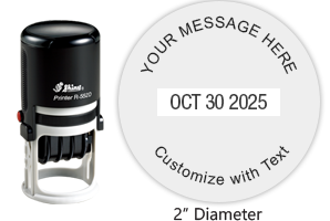 "Personalize this 2"" round date stamp free with up to 4 lines of text in your choice of 11 ink colors. Great for office use. Ships free in 1-2 business days!"