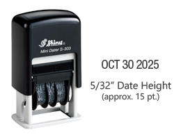 "Stock self-inking dater with manual bands include a changable date up to 12 years with a height of 5/32"", approx. 15 pt. font. Ships free in 1-2 business days!"