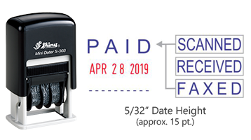 "Stock 4-in-1 self-inking dater with a height of 5/32"", 15 pt. font and included 4 interchangable rubber die phrases. Ships free in 1-2 business days!"