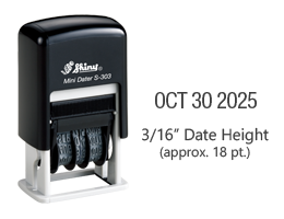 "Stock self-inking dater with manual bands include a changable date up to 12 years with a height of 3/16"", approx. 18 pt. font. Ships free in 1-2 business days!"