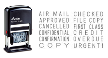12 phrases: AIR MAIL, APPROVED, CANCELLED, CONFIDENTIAL, CONFIRMATION, COPY, CHECKED, FILE COPY, FIRST CLASS, CREDIT, OVERDUE, & URGENT! Ships free in 1-2 days!