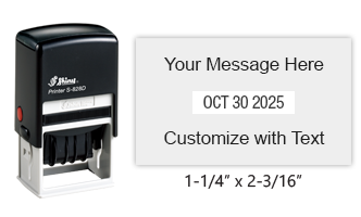 "Personalize this 1-1/4"" x 2-3/16"" date stamp free with up to 4 lines of text in 11 ink color options. Great for office use. Ships free in 1-2 business days!"