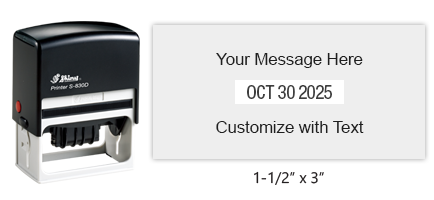 "Personalize this 1-1/2"" x 3"" date stamp free with up to 6 lines of text in your choice of 11 ink colors. Great for office use. Ships free in 1-2 business days!"