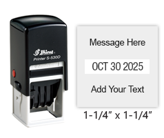 "Personalize this 1-1/4"" square date stamp free with up to 4 lines of text in your choice of 11 ink colors. Great for office use. Ships free in 1-2 business days!"