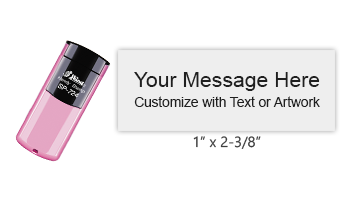 "Customize this 1"" x 2-3/8"" stamp with 6 lines of text or your artwork in a choice of 11 ink colors! Perfect for on the go use. Ships free in 1-2 business days!"