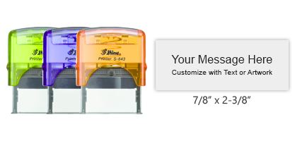 Customize free with text or your logo in your choice of 11 ink colors.  Ships in 1-2 business days and free shipping on orders over $10.  Top quality Shiny S-844 self-inking stamp.