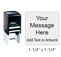 """Customize this 1-1/4"""" square stamp with 6 lines of text or artwork in a choice of 11 ink colors! Great for logos or monograms. Ships free in 1-2 business days!"""